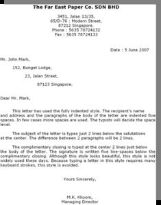 Contoh Surat Modified Block Style Dalam Bahasa Inggris